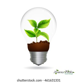 Light Bulb with sprout inside,green eco energy concept  icon ,silhouettes of leaves,tree branch