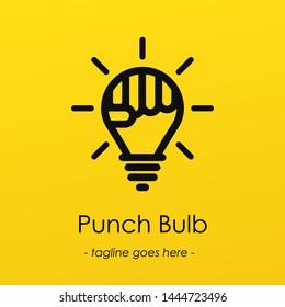 Light bulb symbol logotype with creative idea, punch symbol in light bulb, Punch Bulb vector illustration