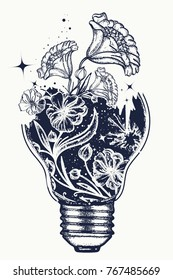 Light bulb tattoo and art nouveau flowers t-shirt design. Symbol of the idea, creativity, creative, imagination, freedom