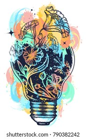Light bulb tattoo and art nouveau flowers t-shirt design water color splashes. Symbol of the idea, creativity, creative, imagination, freedom