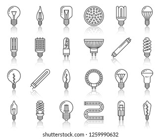 Light Bulb thin line icon set. Outline web sign kit of glass lamp. Fluorescent Lightbulb linear icons of electric equipment, efficient energy, led. Glow imple black contour symbol. Vector Illustration