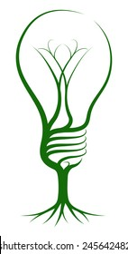 Light bulb tree concept of a tree growing in the shape of a light bulb. Could be a concept for ideas or inspiration