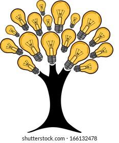 Light bulb tree shining. Tree made of light bulbs.