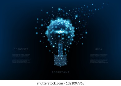 Light bulb of triangles and luminous points. Background of beautiful dark blue night sky. Concept idea. Vector Polygonal illustration. Low poly.