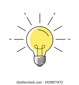 Light bulb vector icon. Electricity, a light bulb as a sign of an idea. Shine. Icon in flat style.