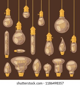 Light bulb vector lightbulb idea solution icon and electric lighting lamp illustration set of realistic electricity light isolated on background