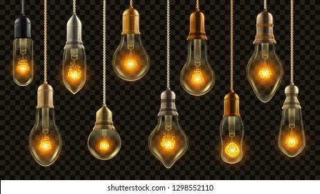 Light Bulb Vintage Set Vector. Glowing Shine Lamp. Transparent 3D Realistic Electric Retro Loft Or Steampunk Style Hanging Decorative Lights Illustration