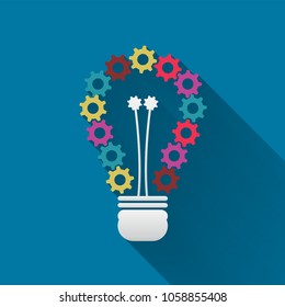Light bulb which has of colorful gears with long shadow black,Simple design style.vector illustration