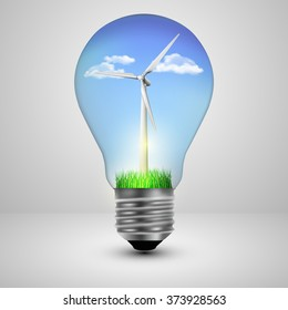 Light bulb with a wind turbines in side, ecology concept. Vector illustration.