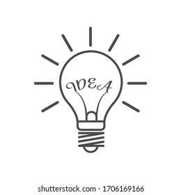Light bulb and word IDEA. Idea icon. Empty polygon. Stock illustration isolated on a white background. Simple design