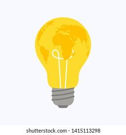 Light bulb world map on white background, vector illustration
