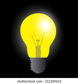 light bulb yellow light source eps10