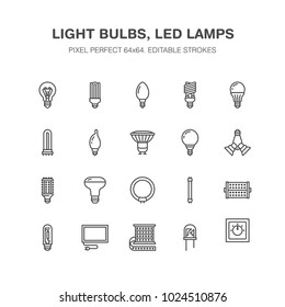 Light bulbs flat line icons. Led lamps types, fluorescent, filament, halogen, diode and other illumination. Thin linear signs for idea concept, electric shop. Pixel perfect 64x64.