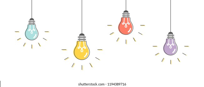 Light bulbs hanging. Vector illustration, flat design