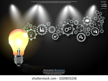 Light bulbs and  icon cog  -  modern Idea and Concept Vector illustration Business.