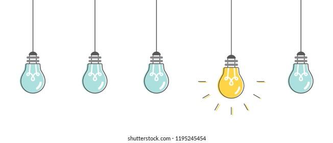 Light bulbs idea. Vector illustration, flat design