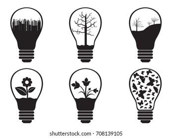 Light bulbs illustrated on white background