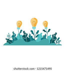 Light bulbs with leaves. Flat design colorful vector illustration concept for growing ideas, startup, innovation isolated on white