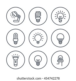 light bulbs line icons in circles, LED, CFL, fluorescent, halogen, lamp, flashlight