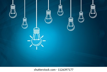 Light bulbs on a blue background. Creativity concept with innovation or inspiration in business, thinking outside the box.Strategy and leadership on teamwork. Opportunity, solution and success.