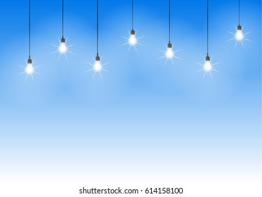 Light bulbs on sky and white background