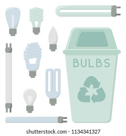 Light bulbs recycling icons set. Flat style vector illustration. EPS10