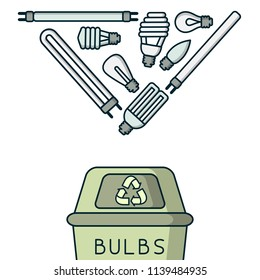 Light bulbs recycling illustration with trash, dumpster and lettering. Linear style vector illustration. EPS10