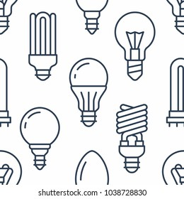 Light bulbs seamless pattern with flat line icons. Led lamps types, fluorescent, filament, halogen, diode and other illumination. Modern background with linear signs for electric store.
