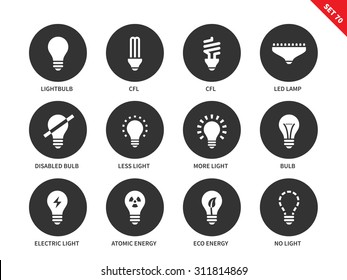 Light and bulbs vector icons set. Illumination and electricity concept. Different kinds of bulbs, cfl, led lamp, atomic energy, lighting options. Isolated on white background.