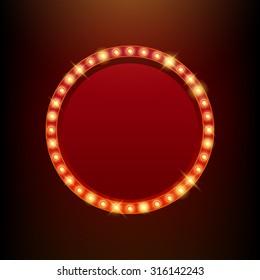 Light bulbs vintage neon glow round frame vector illustration. Good for cinema show theater circus casino design.