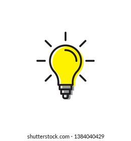 light bulp lamp idea energy symbol icon vector isolated on white