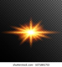 Light burst effect. Glowing sun rays. Magic explosion.
