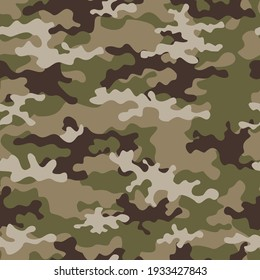 Light camouflage military wallpaper pattern, repeat print on clothing, fabric.