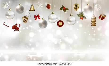 Light Christmas background with baubles