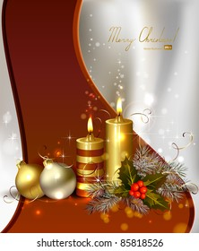 light Christmas background with burning candles and Christmas bauble