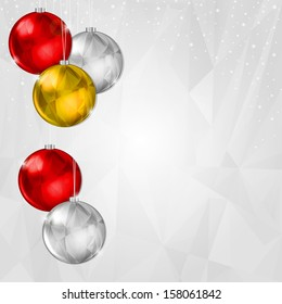 Light Christmas Background with Hanging Silver and Gold Decoration