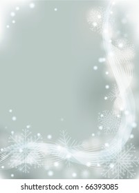 Light Christmas snowflake and swirl background . eps10 with transparency