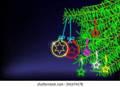 light christmas tree with star and christmas ball,christmas background