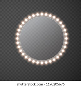 Light circle banner isolated on transparent background. Vector round Hollywood bulbs frame or border. Las Vegas casino night sign. Theatre circle makeup mirror with lights template.