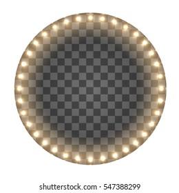 Light circle board. Round lights frame.