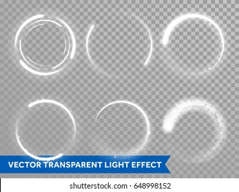Light circles of shining sun or starlight flashes on transparent background. Vector isolated set of round sparks or circular lights with glare effect for premium festive card or poster design