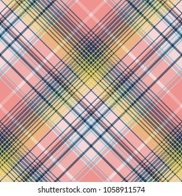 Light color check plaid pixel seamless pattern. Vector illustration.