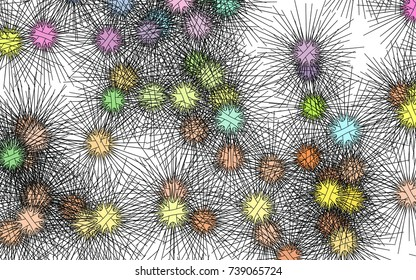 Light colored vector background with hedgehogs. Glitter abstract layout with isolated sea urchins. Abstract nature design for your business advert.