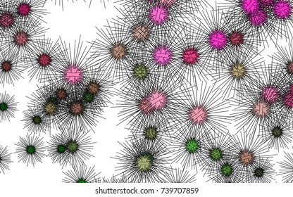 Light colored vector pattern with virus cells. Decorative design in natural style with sea urchins. Abstract nature design for your business advert.