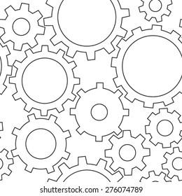 light contour gears seamless vector texture background, seamless pattern