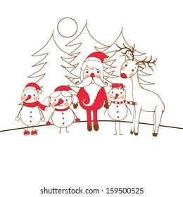 Light cute card with little snowmen, Santa and reindeer
