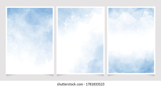 light cyan blue watercolor wet wash splash 5x7 invitation card background template collection