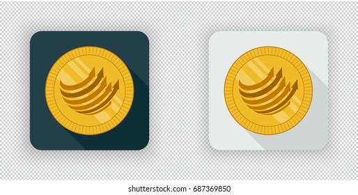 Light and dark crypto currency icon Factom on a transparent background