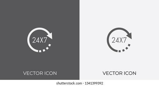 Light & Dark Gray Icon of 24X7 For Mobile, Software & App.. Eps. 10.