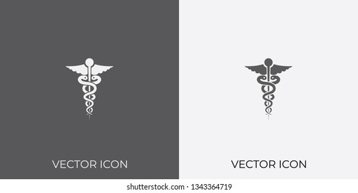 Light & Dark Gray Icon of caduceus For Mobile, Software & App. Eps. 10. - Vector